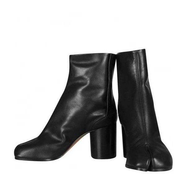 Maison Margiela Black Split Toe Tabi Chelsea Ankle Boot Heels | HERVIA... ($810) ❤ liked on Polyvore featuring shoes, boots, ankle booties, summer boots, maison margiela, black boots, black ankle booties and beatle boots