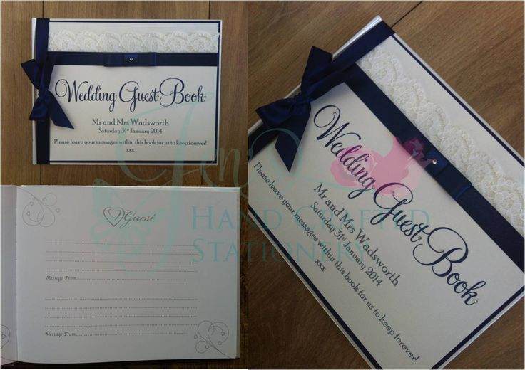 Navy and lace wedding guest book www.jenshandcraftedstationery.co.uk www.facebook.com/jenshandcraftedstationery