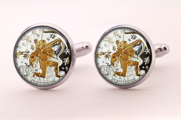 Boutons de manchette faits à la main avec cabochon en verre et le graphique: Sagittaire zodiaque : Bijoux pour hommes par egginegg
