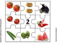 Puzzelen met hoeveelheden voedsel. De kinderen leren het aantal objecten te herkennen. Voorbereiding op het rekenen. Puzzel van het getal 2.