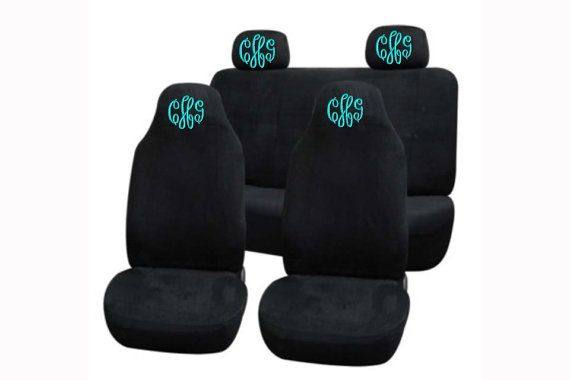 Personalized Front and back car seat covers by Unique2U2 on Etsy, $80.00 GREY WITH AN INTERLOCKED MONOGRAM SRL IN THE COLOR CORAL