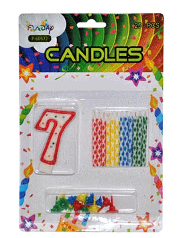 Verjaardag kaarsen set nummer 7. Deze kaarsen prikt u bijvoorbeeld in een verjaardagstaart. U ontvangt een groot cijfer en 12 kleine gekleurde kaarsen. Inclusief prikker.