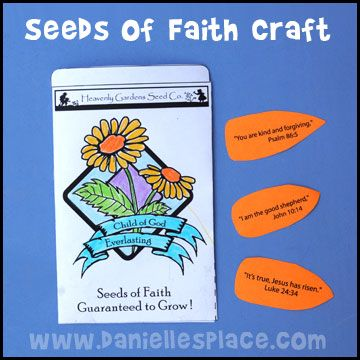 Seeds of Faith Craft and Review Game from www.daniellesplace.com for Children's Sunday School