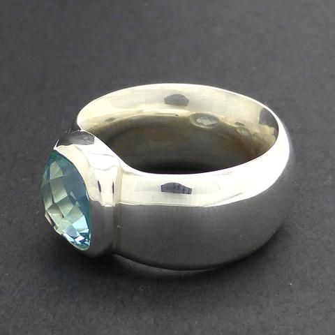 Ring Blue Topaz Heavy Silver