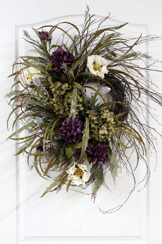 Front Door Wreath Beautiful Twig Wreath with by FloralsFromHome