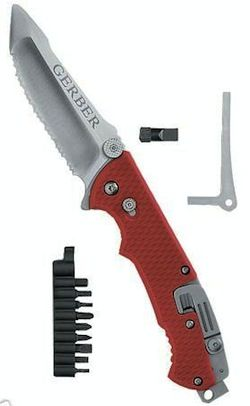 Gerber Hinderer Rescue Knife - helpful to have along with a multi-tool