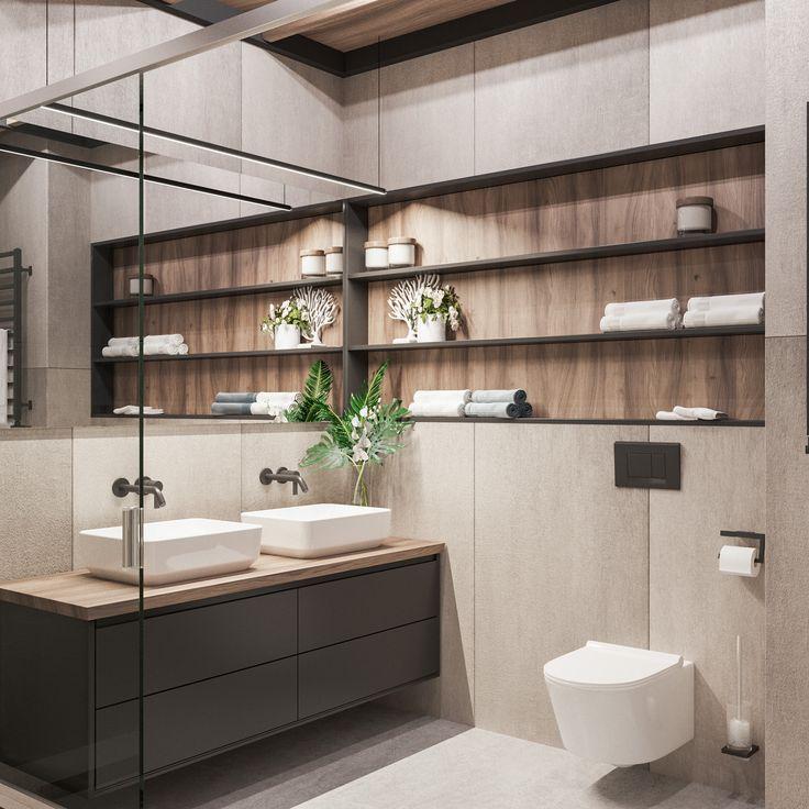 Salle de bains moderne avec vasque à poser et quelques éléments boisés donc ce meuble de #salledebains