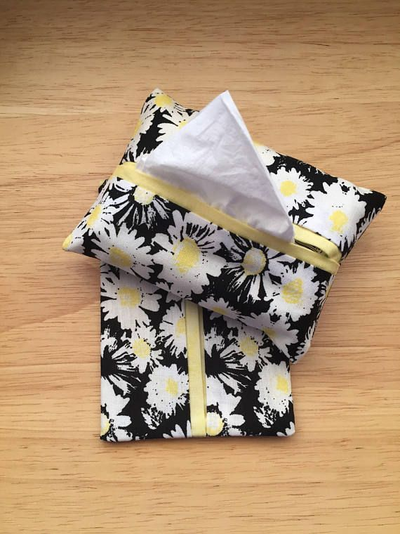 Purse or Pocket Tissue Holders, Daisy Fabric, Handmade, Kleenex Holders, Purse Accessory, gift under 10, Stocking Stuffers