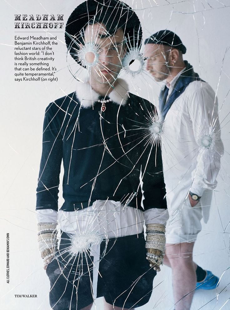 Fashion designers, Meadham Kirchoff, in 'Made in Britain' by Tim Walker for Vogue UK, December 2013