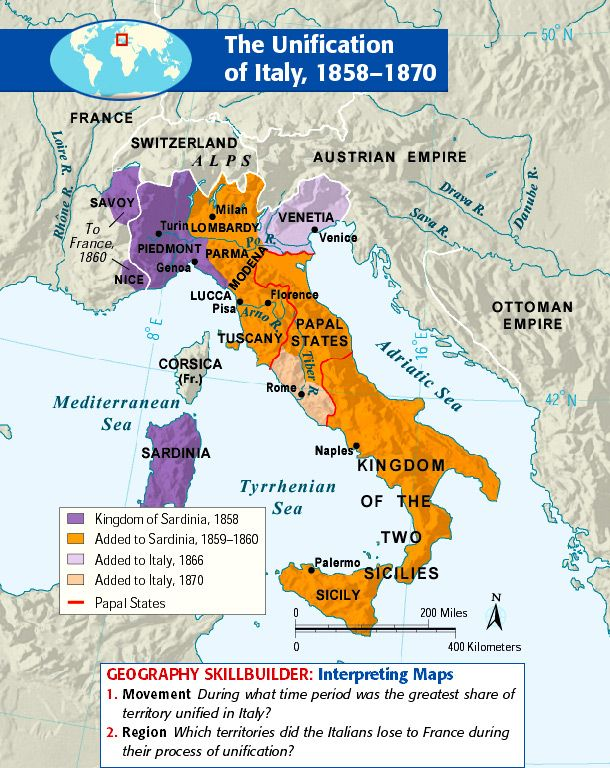 an introduction to the unification of italy and germany Italian unification (1848-1870) summary the movement to unite italy into one cultural and political entity was known as the risorgimento (literally, resurgence.