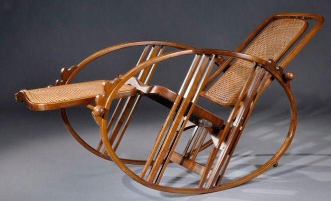 Società Anonima Antonio Volpe di Udine, sedia a dondolo, 1922, tecnica Thonet - Thonet method rocking chair