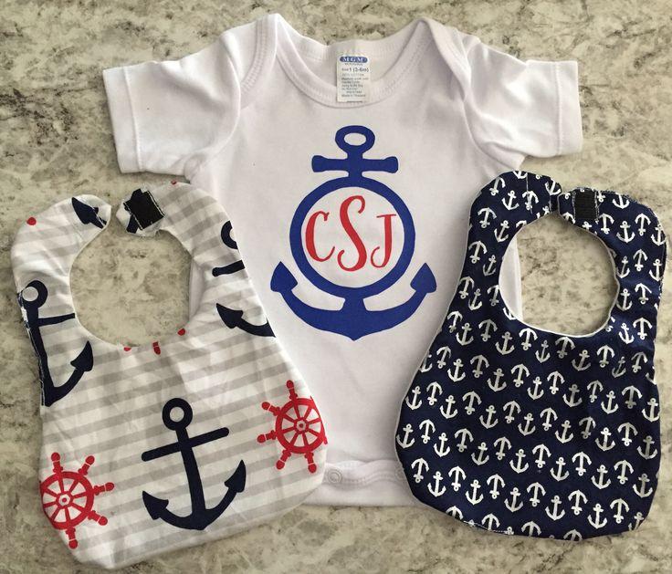 Anchor Monogram Onesie and Bib Set  #etsy #clothing #children #baby #blue #babyshower #babyboy #onesie #bibs #anchor