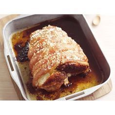 Pork leg roast with sage potatoes recipe - By Australian Women's Weekly, To make sure that the crackling on this pork leg roast is crisp and light, pat the skin dry with paper towel or a tea-towel before scoring the rind. Serve with sage potatoes and apple sauce.