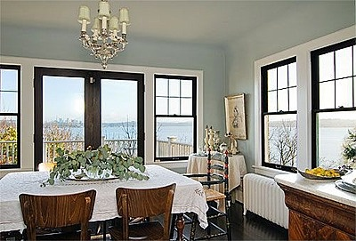 Love the dark paint contrasted withe the white trim paint