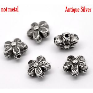 Image of 100Pcs Antique Silver Floral&Flower Spacer Beads 10x10mm