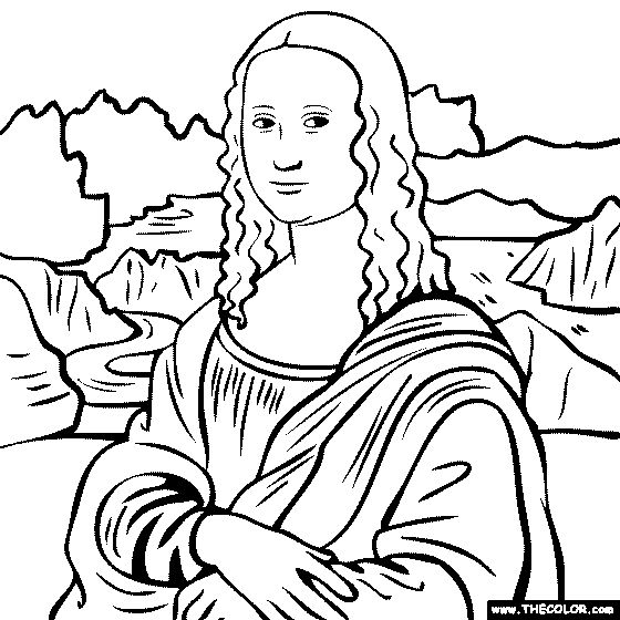 100% free coloring page of Leonardo Da Vinci painting - The Mona Lisa. You be the master painter! Color this famous painting and many more! You can save your colored pictures, print them and send them to family and friends!