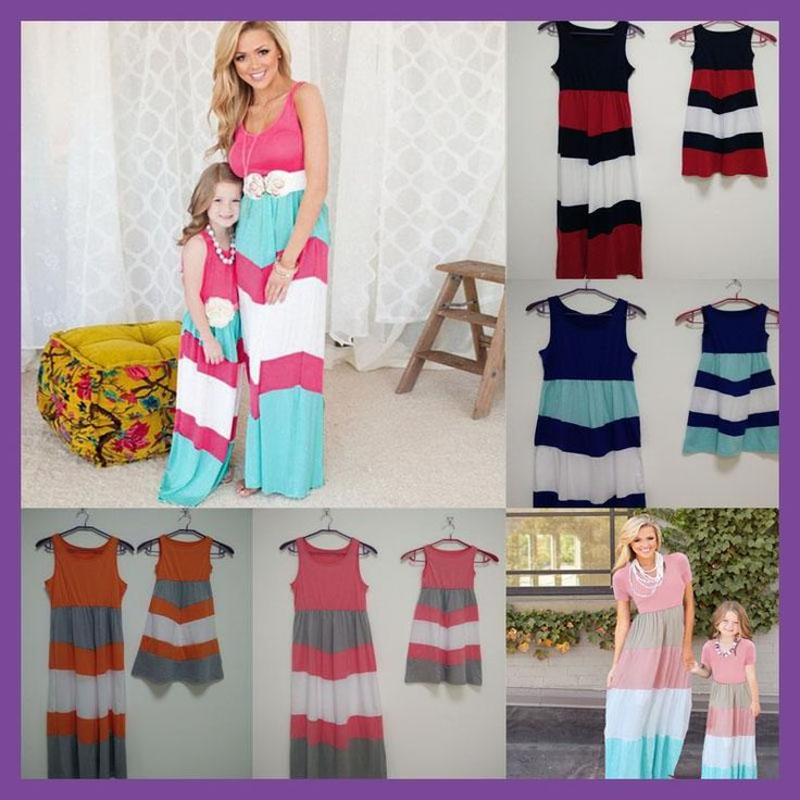 Summer Family Look Girl and Mother Daughter Sets dresses Matching Outfits Contrast Color ropa madre e hija mommy and me clothesX