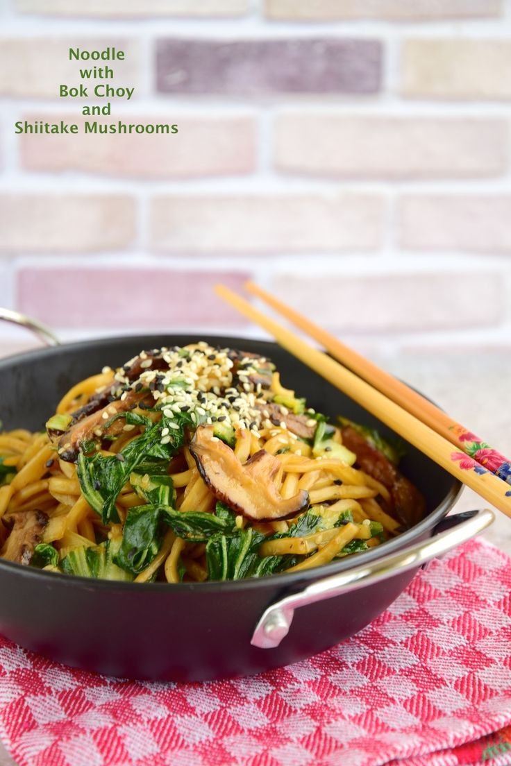 Noodle with bok choy and shiitake mushrooms