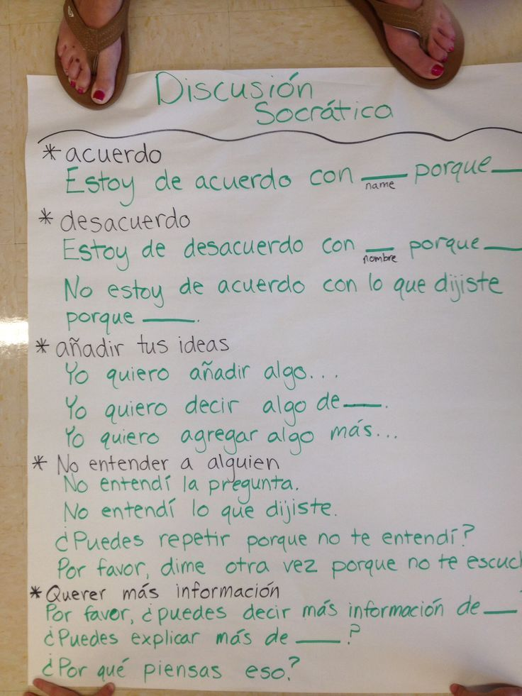 Socratic seminar sentence frames in Spanish. Student discourse.