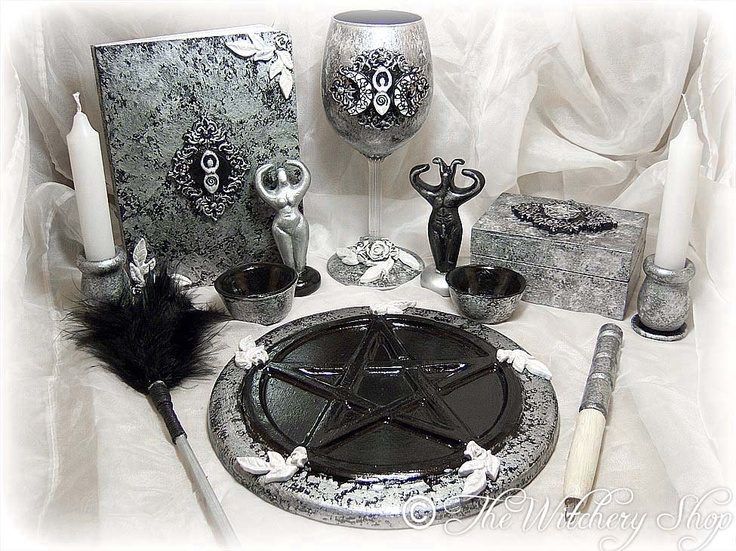 Complete Goddess Altar Set, Ritual Set, Book, Crystal Wine Cup, Wand, Pentacle Tile, Spell Box, Candles, Figurines, Broom,- Wiccan, Pagan. thewitcheryshop via Etsy.