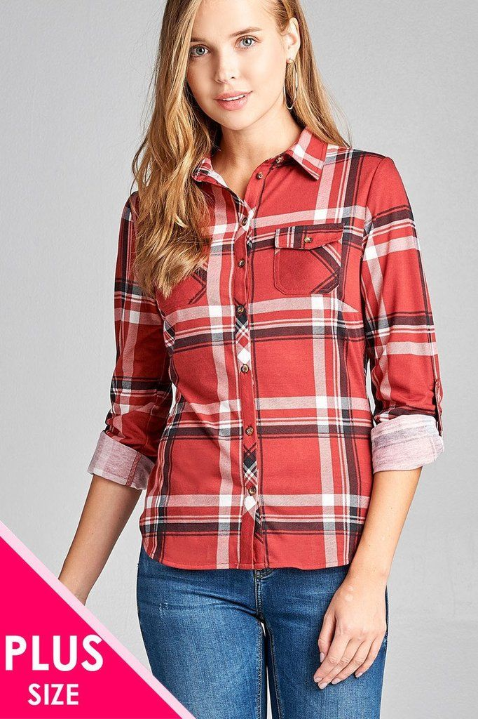 f127e4f749143 Ladies fashion plus size 3 4 roll up sleeve front pocket detail plaid check  print stretch knit shirts