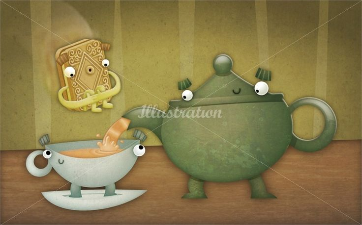 Character design of teapot and biscuits illustration by Duncan Beedie