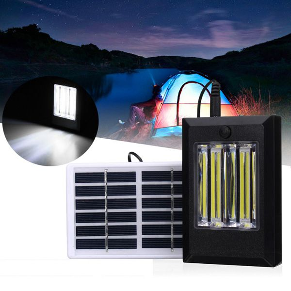 Solar Powered Rechargeable 2W COB LED Wall Light Outdoor Garden Camping Hiking Lamp