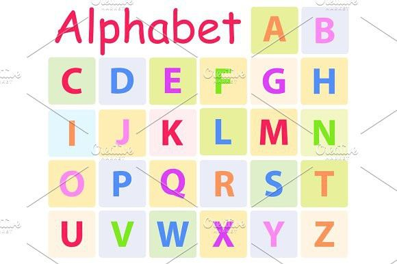 Multycolored Alphabet with 26 Capital Letters Icon. Typeface #alphabet