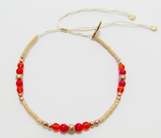 Poppy bracelet: Glass bead and semi precious stone beaded bracelet on 100% silk thread.  Red crystal, red coral, rose gold plated copper beads.  Size adjustable.  $60