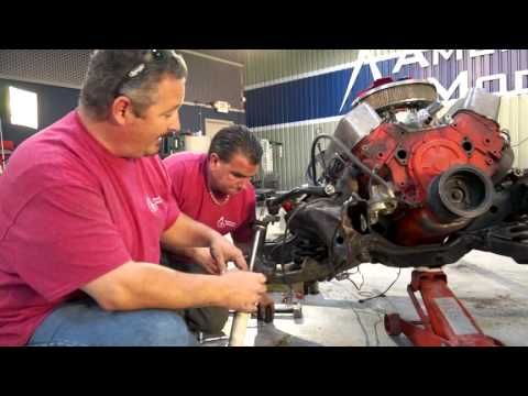 During this episode of The Build, Rick Drewry, Sr. Claims Specialist at American Modern, will remove the front steering, front suspension and begin to get into the engine and suspension of the 1965 Chevelle Malibu SS.  Removing the four main bolts that attach the transmission to the bell housing will allow the team to detach the transmission to get to the clutch.  Be sure to follow us on Facebook: http://www.facebook.com/AmericanModernCollectorCar #TheBuild @American Modern Insurance Group