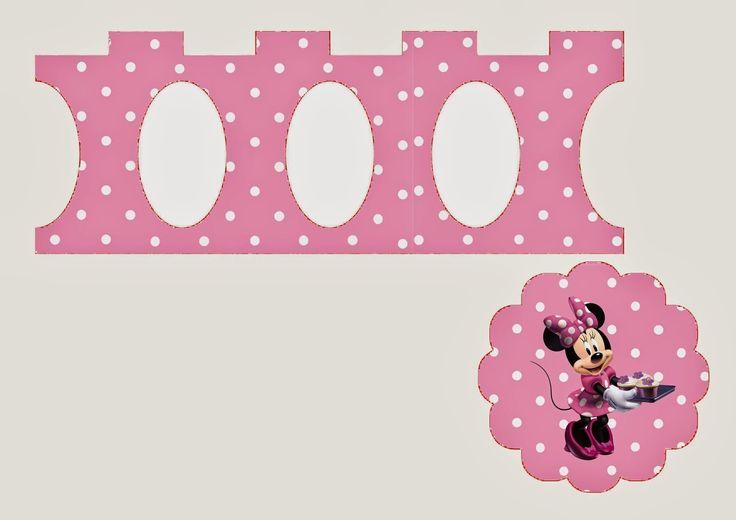 Minnie in Pink: Free Printable Mini Cupcake Stands.