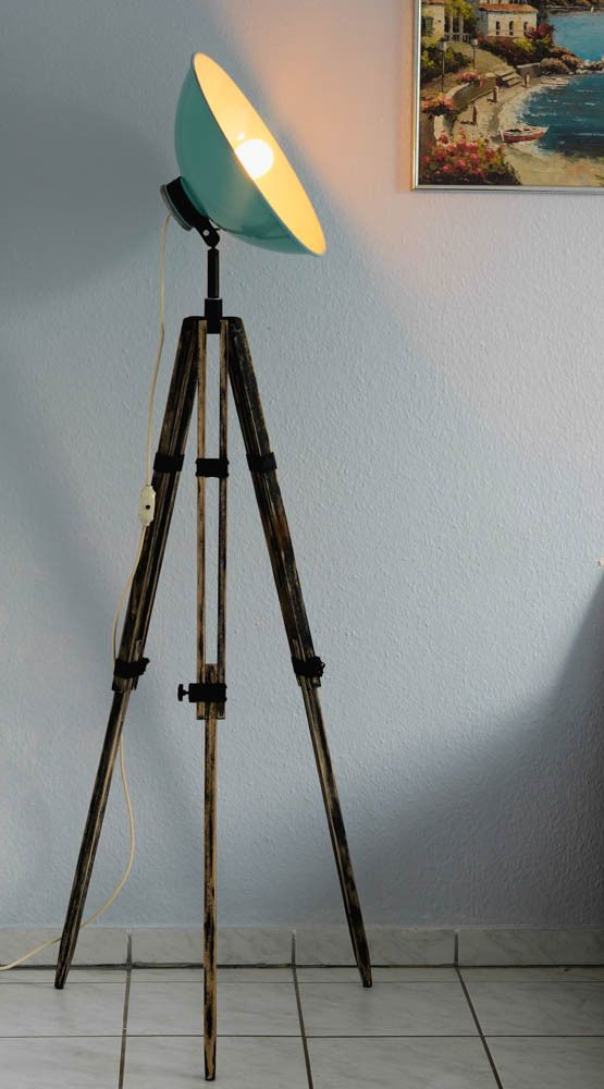 Vintage 50s Tripod Floor Lamp,Industrial CHIC,Retro SHIC,Spot Light ,Wood Tripod