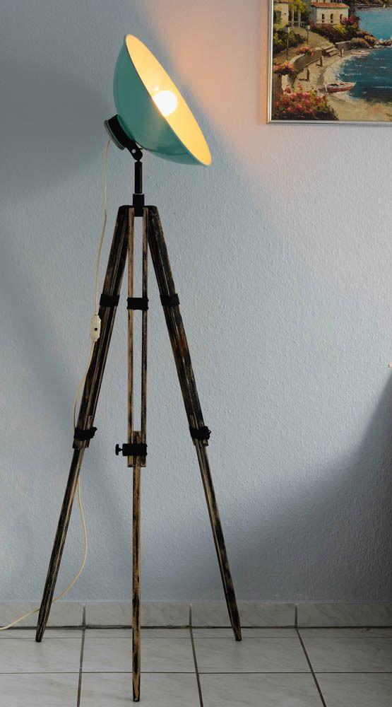 Vintage 50s Tripod Floor Lamp,Industrial CHIC,Retro SHIC,Spot Light ,Wood Tripod