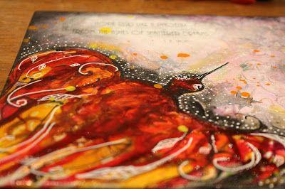 Aromaattista arkea askarrellen : Hope rises like a phoenix  #mixedmedia #canvas #pouringmedium
