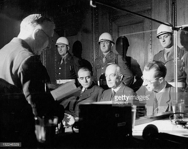 At Nuremberg International Military Tribunal from left to right Mr Hjalmar Schacht Albert Speer Constantin von Neurath and Hans Fritzsche