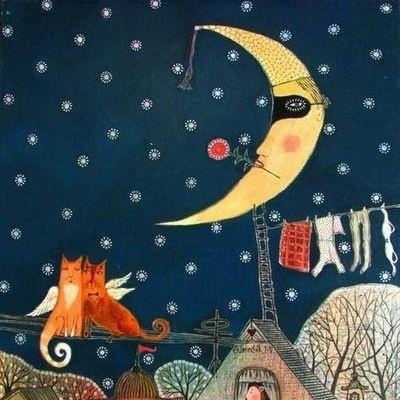 La notte arriva in punta di piedi soffiando buio e silenzio.  Copre i tetti con una trapunta di stelle lucenti.  Nelle case germogliano luci alle finestre, in lontananza il canto d'amore d'un gatto tigrato a cui risponde, stonato, il latrato di un cane vagabondo.  E tocco la quiete che appare danzando, e respiro l'ebrezza di un sogno, che mi racconta di cose infinite.    Eleonora Della Gatta ©  ill. by Anna Silivonchik