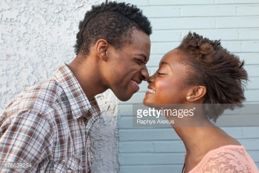Stock Photo : Young couple touching noses
