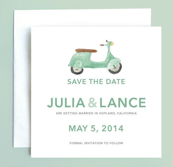 Vespa Scooter Save the Date by Leveret Paperie