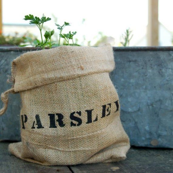 neat idea to do yourself--burlap bags for herbs