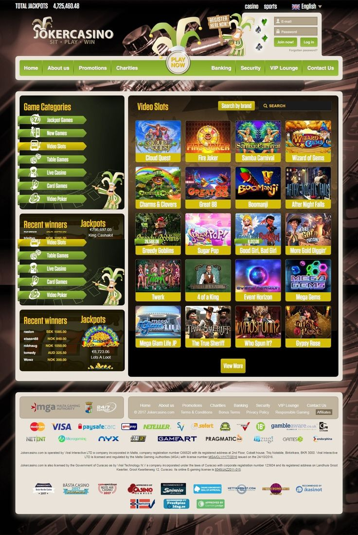 JokerCasino - THe best online casino with best bonuses, free sping and more! Play online Blackjack, Roulette, Slot Machines, Bingo , Jackpots and many more! Register for free and experience the number 1 online casino