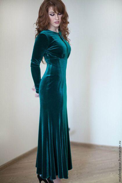 Платья ручной работы. Ярмарка Мастеров - ручная работа. Купить Бархатное платье. Handmade. Тёмно-зелёный, нарядное платье