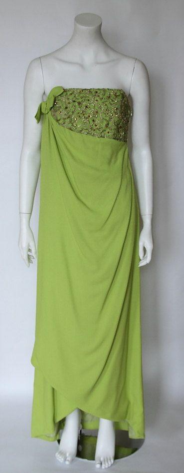 VENTE ! 25 % de réduction ! MIRA/Suisse des années 1960 vintage vert pomme déesses-style Bustier corsage sans manches robe de soirée, taille env. 36