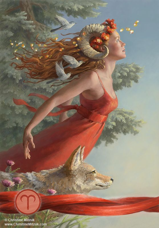 digital painting of the astrological sign Aries by christine mitzuk to be used in Llewellyn's 2015 Astrological Calendar