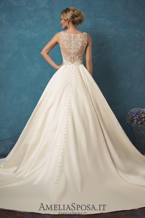 Amelia Sposa V-neck Satin Wedding Dresses Noemi2 / http://www.deerpearlflowers.com/amelia-sposa-2017-wedding-dresses/2/