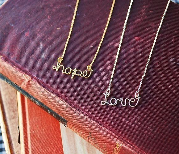 Hope & Love: Wire Necklaces, Gift, Hope Love, Names, Sterling Silver, Love Necklace, Hope Necklace, Ancillary