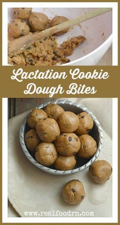 Lactation Cookie Dough Bites. Who doesn't love eating cookie dough? Well, these little delights not only taste AHmazing, but they also help breastfeeding Mama's to produce more milk! I keep them in the freezer for times of low supply. realfoodrn.com #cookiedough #lactationcookie