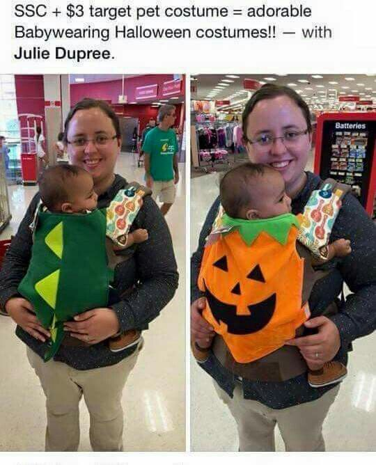 Using pet Halloween costumes for a baby carrier!!                                                                                                                                                     More