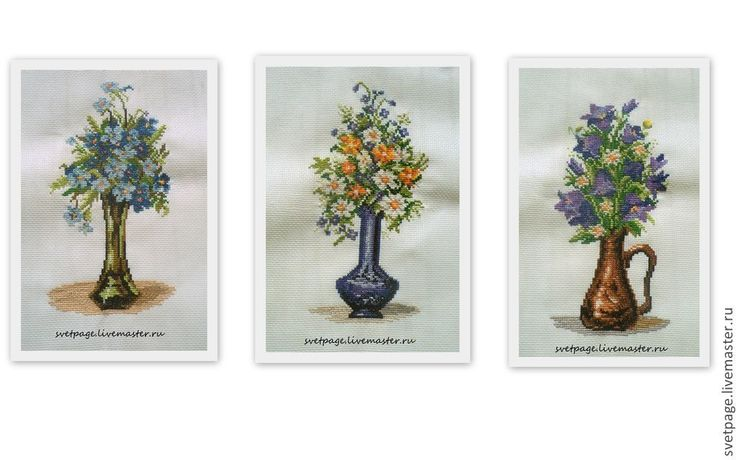 """Купить Триптих """"Полевые цветы"""" - вышивка, вышивка ручная, Вышивка крестом, Вышитая картина, триптих"""