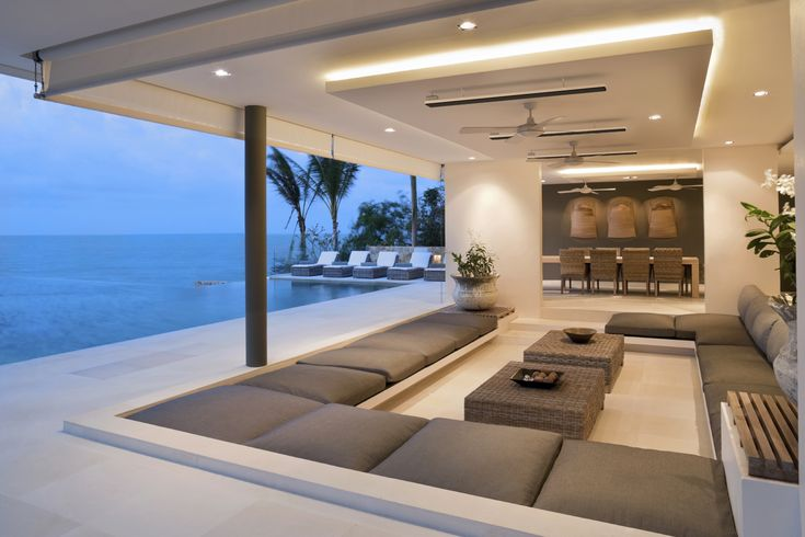 outdoor heater, patio heater, infinity pool, outdoor lounge, ceiling fans