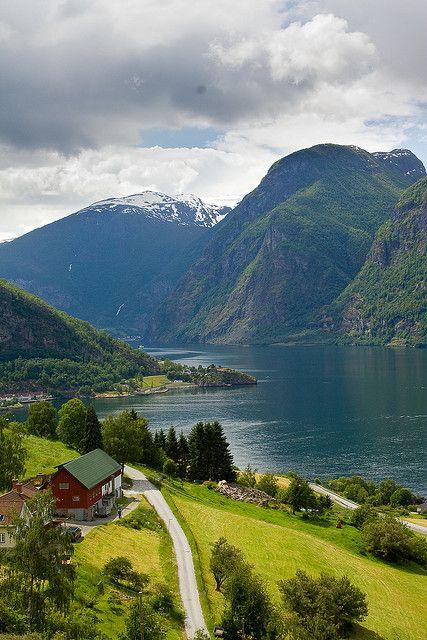 Picturesque village in Aurlandsfjord, Sogn og Fjordane, Norway